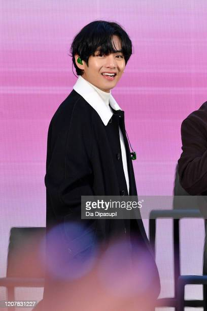 V of the Kpop boy band BTS visits the Today Show at Rockefeller Plaza on February 21 2020 in New York City