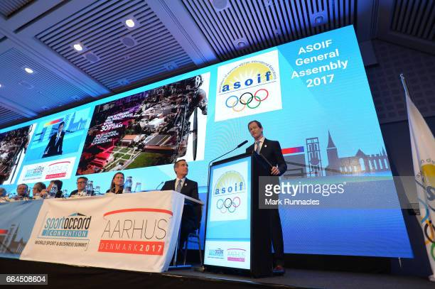 CEO of the Los Angles 2024 Summer Olympic bid Gene Sykes speaks during a presentation at the ASOIF general Assembly during the third day of...