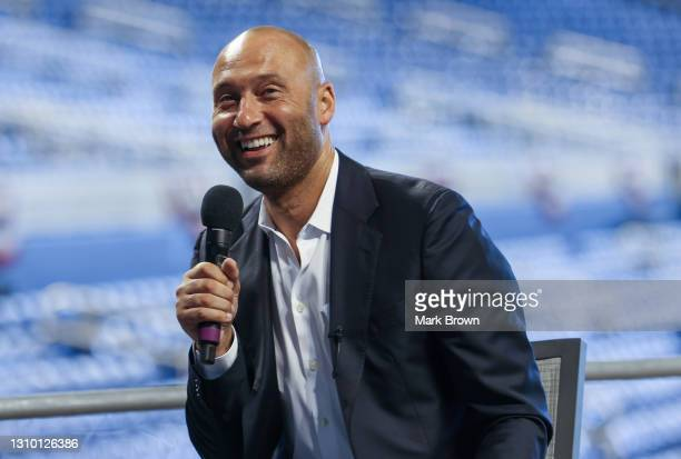 Of the Miami Marlins Derek Jeter speaks to the media to announce loanDepot as the exclusive naming rights partner for loanDepot park, formerly known...
