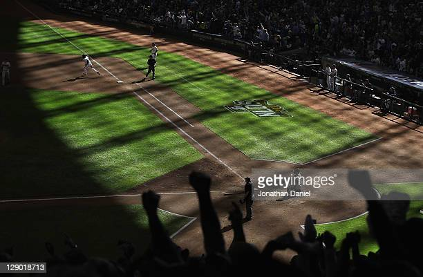 Of the Milwaukee Brewers of the Arizona Diamondbacks during Game One of the National League Division Series at Miller Park on October 1, 2011 in...