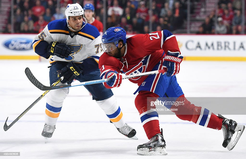 of the Montreal Canadiens of the St-Louis Blues in the NHL game at the Bell Centre on October 20, 2015 in Montreal, Quebec, Canada.