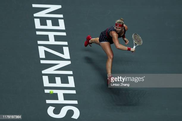 of the Netherlands plays a forehand against Belinda Bencic of Switzerland during their Women's Singles match on Day Five of the 2019 Shiseido WTA...