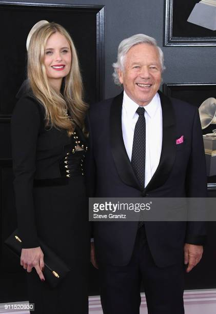 CEO of the New England Patriots Robert Kraft and Ricki Noel Lander attend the 60th Annual GRAMMY Awards at Madison Square Garden on January 28 2018...