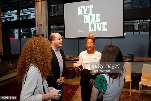 DOP of The New York Times Magazine Kathy Ryan CNN Correspondent Brian Stelter journalist Jenna Wortham and Jamie Shupak Stelter attend NYT Mag Live A...