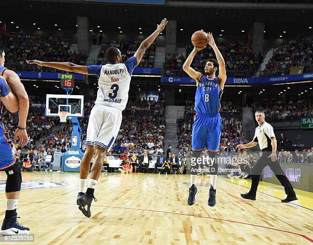 of the Oklahoma City Thunder shoots of Real Madrid as part of the 2016 Global Games on October 3 2016 at the Barclaycard Center in Madrid Spain NOTE...