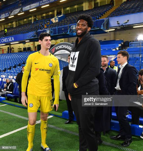 Of the Philadelphia 76ers during the Chelsea FC vs Arsenal FC soccer match as part of the 2018 NBA London Global Game at Stamford Bridge on January...