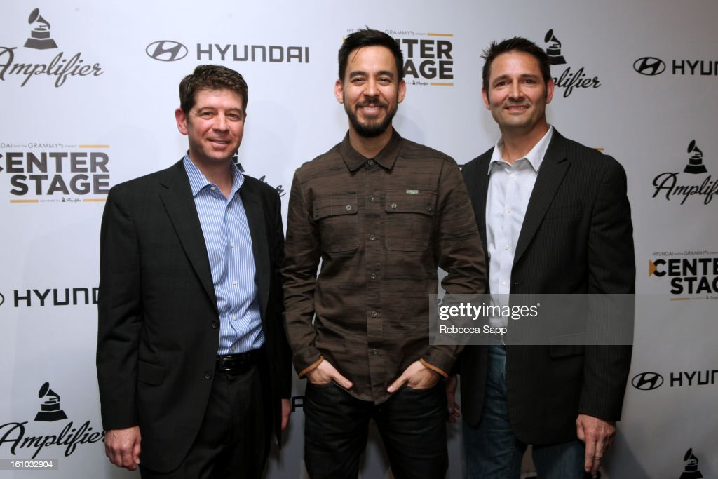CMO of the Recording Academy Evan Greene, musician Mike Shinoda of Linkin Park and Senior Group Manager of New Media for Hyundai Jon Budd during a special announcement by Linkin Park's Mike Shinoda at the Start Up Village/Social Media Summit at The Conga Room at LA Live on February 8, 2013 in Los Angeles, California.