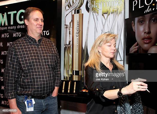 CIO of The Recording Academy Rick Engdahl and guest attends the GRAMMY Gift Lounge during the 56th Grammy Awards at Staples Center on January 25 2014...