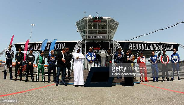 CEO of the Red Bull Air race Bernd Loidl Deputy Director General of the Abu Dhabi Tourism Authority Ahmed Hussein and EVP Brand and Communications of...