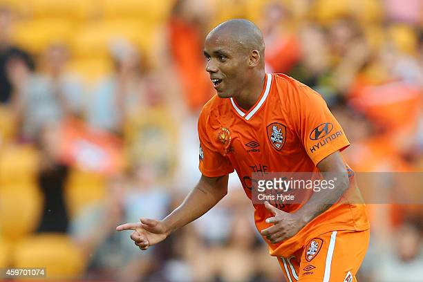 HENRIQUE of the Roar celebrates after scoring a goal during the round eight ALeague match between Brisbane Roar and Perth Glory at Suncorp Stadium on...