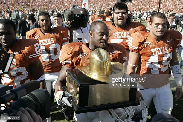 Of the Texas Longhorns in action against the Oklahoma Sooners in the 100th annual Red River Rivalry at the Cotton Bowl in Dallas, Texas on October 8,...