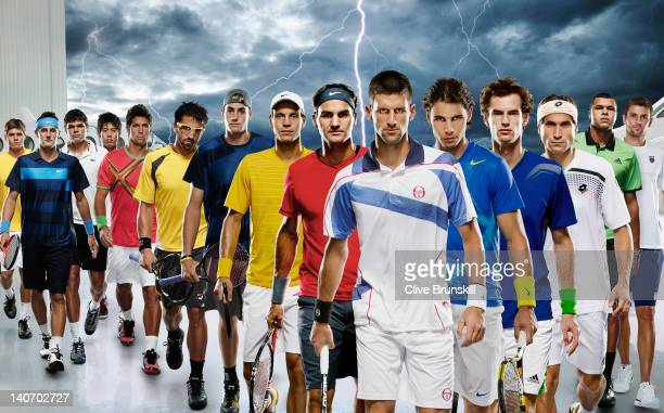 15 of the top male tennis players in the world Ryan Harrison of United States Bernard Tomic of Australia Milos Raonic of Canada Kei Nishikori of...