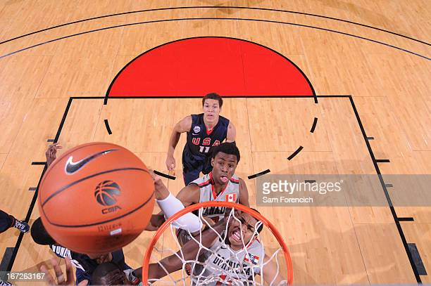 of the USA Junior Select Team shoots a layup against the World Select Team during the 2013 Nike Hoop Summit game on April 20 2013 at the Rose Garden...