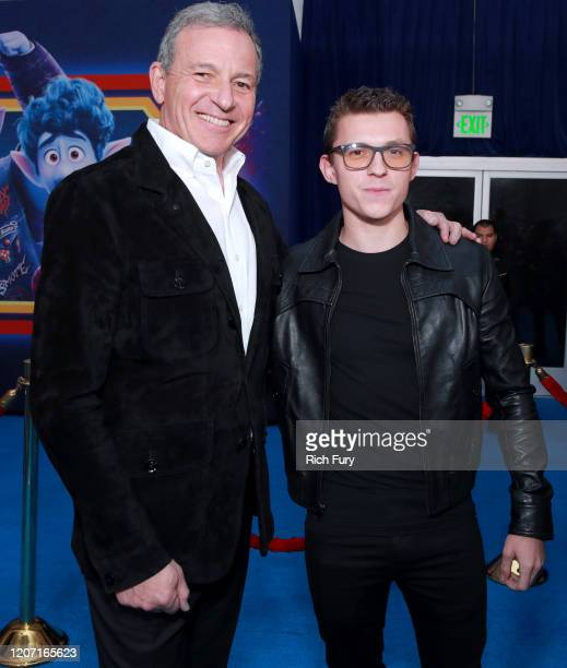 CEO of The Walt Disney Company Bob Iger and Tom Holland attend the Premiere of Disney and Pixar's Onward on February 18 2020 in Hollywood California