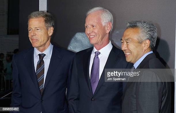 """Of Time Warner Jeff Bewkes, retired airline captain Chesley """"Sully"""" Sullenberger and chairman and CEO of Warner Bros. Entertainment Kevin Tsujihara..."""