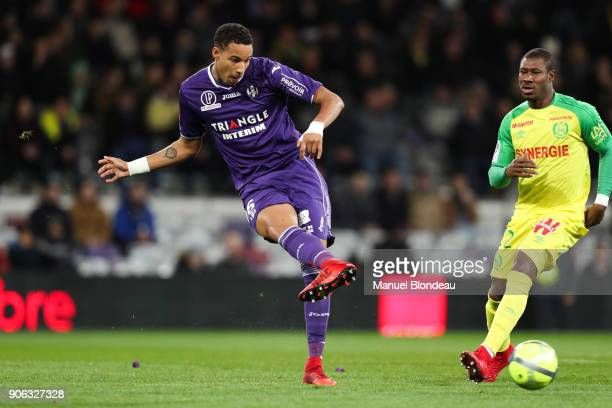 XXXX of Toulouse and XXXX of Nantes during the Ligue 1 match between Toulouse and Nantes at Stadium Municipal on January 17 2018 in Toulouse