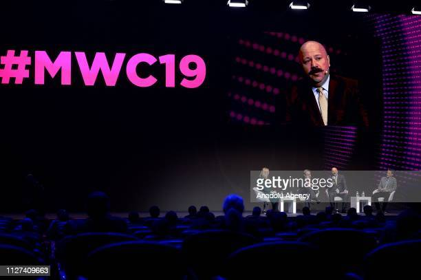 CEO of Turkcell Kaan Terzioglu gives a speech during the first day at the mobile World Congress 2019 in Barcelona Spain on February 25 2019