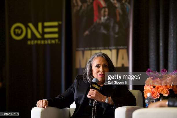 CEO of TV One Cathy Hughes discusses the Premiere Of TV One's Media at Pacific Design Center on February 13 2017 in West Hollywood California