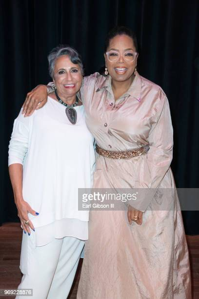 CEO of TVOne Cathy Hughes and Oprah Winfrey attend the Women's E3 Summit at National Museum Of African American History Culture on June 7 2018 in...