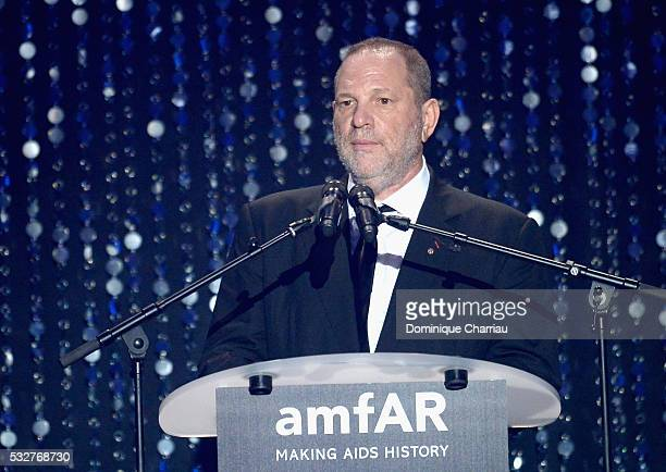 CEO of TWC Harvey Weinstein appears on stage at the amfAR's 23rd Cinema Against AIDS Gala at Hotel du CapEdenRoc on May 19 2016 in Cap d'Antibes...