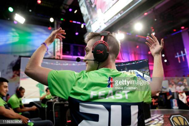 Of T-Wolves Gaming reacts to a play against 76ers Gaming Club during Game One of the NBA 2K League Finals on August 3, 2019 at the NBA 2K Studio in...