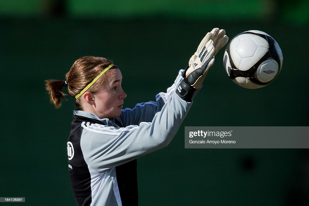 of U19 Germany competes for the ball with of U19 Norway during the Women's U19 Tournament match between U19 Norway and U19 Germany at La Manga Club ground G on March 11, 2013 in La Manga, Spain.