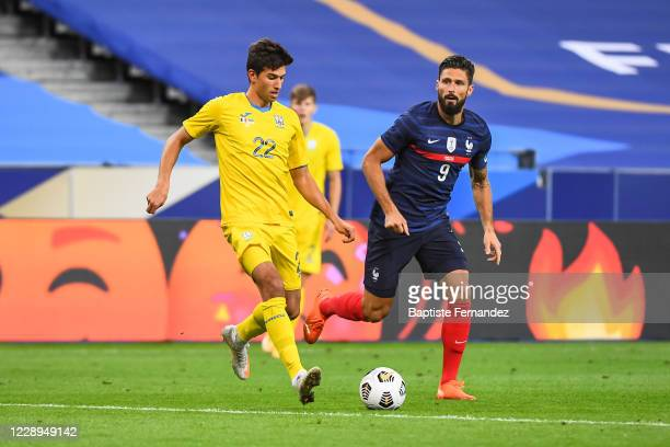 Of Ukraine and Olivier GIROUD of France during the international friendly match between France and Ukraine on October 7, 2020 in Paris, France.