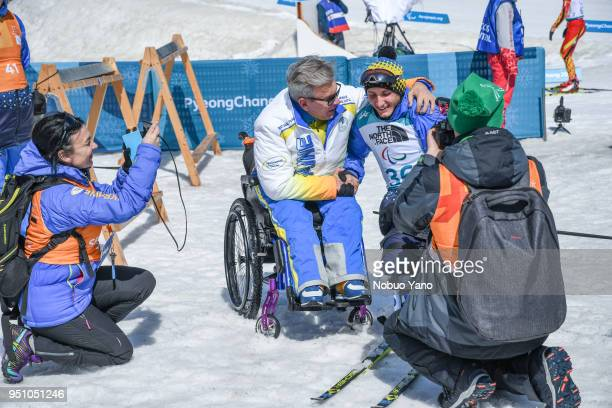 RAD of Ukraine celeblates the victory in Biathlon Women's 10kmStanding at Alpensia Biathlon Centre during day 4 of the PyeongChang 2018 Paralympic...