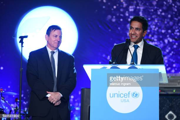 CDO EVP of UNICEF Barron Segar and Honorary Chair Dr Sanjay Gupta speak at the Fourth Annual UNICEF Gala at The Foundry At Puritan Mill on April 12...