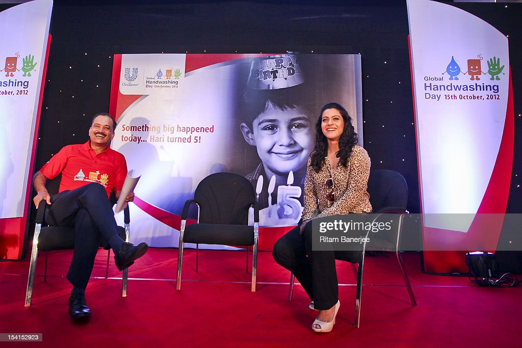 CEO MD of Unilever India Nitin Paranjpe and Bollywood actress Kajol attend a Global Handwashing Day event at Worli Seaface Mumbai Municipal...