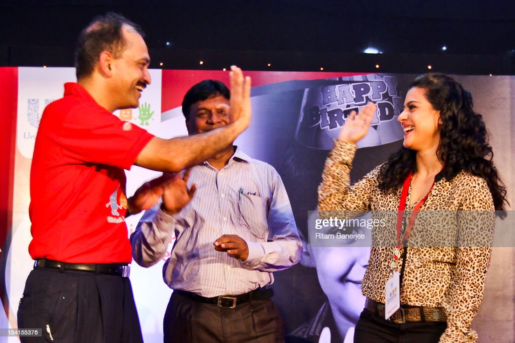 CEO MD of Unilever India Nitin Paranjpe and Bollywood actress Kajol take a pledge during a Global Handwashing Day event at Worli Seaface Mumbai...