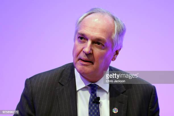 CEO of Unilever Paul Polman attends a talk where Prince William Duke of Cambridge introduces new workplace mental health initiatives at Unilever...