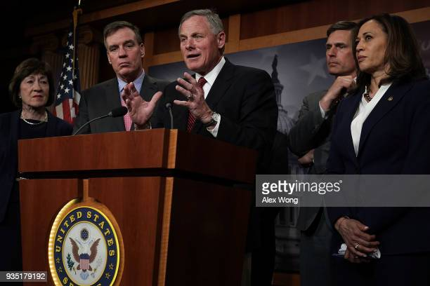 of US Senate Intelligence Committee Chairman Richard Burr speaks as Sen Susan Collins committee Vice Chairman Mark Warner Sen Martin Heinrich and Sen...