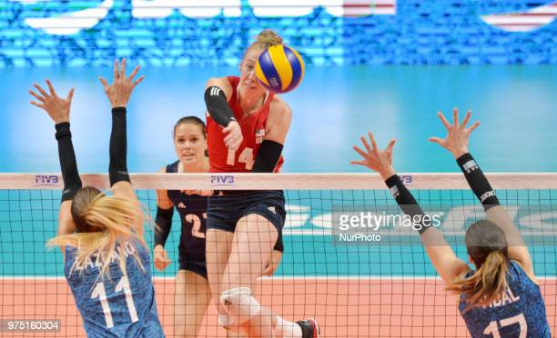 of USA in action against JULIETA CONSTANZA LAZCANO and HELENA VIDAL of Argentina during FIVB Volleyball Nations League match between Argentina and...