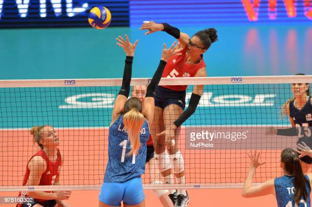 of USA in action against JULIETA CONSTANZA LAZCANO of Argentina during FIVB Volleyball Nations League match between Argentina and USA at the stadium...