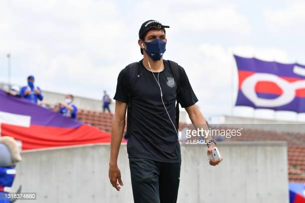 Of Ventforet Kofu is seen on arrival at the stadium prior to the J.League Meiji Yasuda J2 match between Ventforet Kofu and Blaublitz Akita at the JIT...