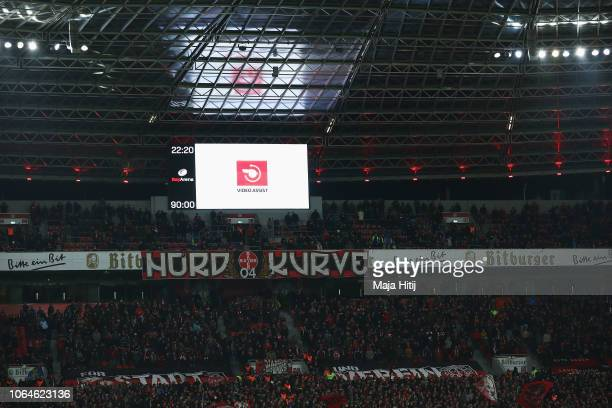 VAR of Video assistant referee is used during the Bundesliga match between Bayer 04 Leverkusen and VfB Stuttgart at BayArena on November 23 2018 in...