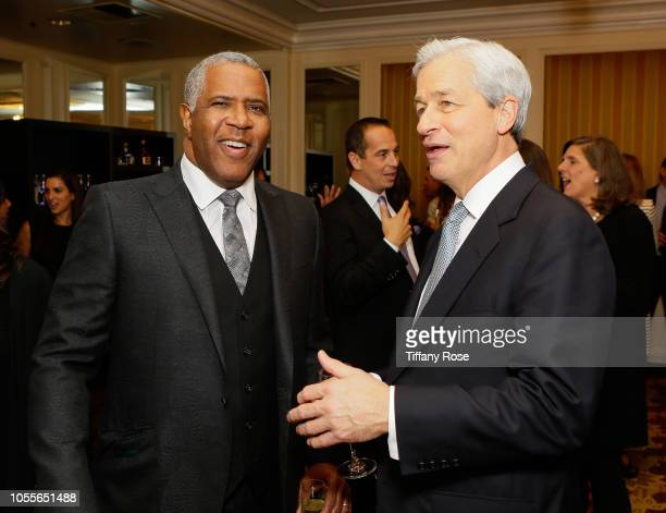 CEO of Vista Equity Partners Robert Smith and CEO of JPMorgan Chase Jamie Dimon attend the International Medical Corps Annual Awards Celebration on...