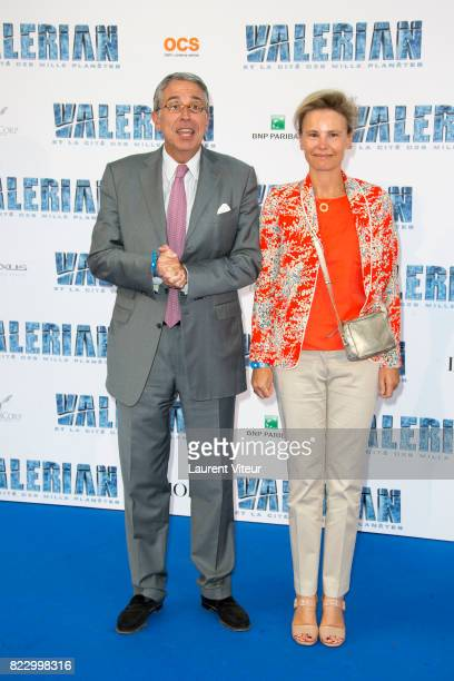 PDG of Vivendi Arnaud de Puyfontaine and guest attend 'Valerian et la Cite desMille Planetes' Paris Premiere at La Cite Du Cinema on July 25 2017 in...