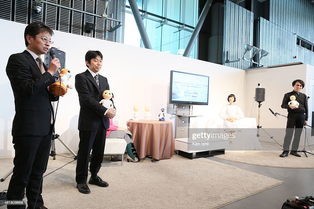 CEO of Vstone Ltd., Nobuo Yamato, associate professor Yuuichiro Yoshikawa, and professor Hiroshi Ishiguro attend the press conference to introduce the sociable robots, 'CommU' and 'Sota' hosted by only the robot science communicator Otonaroid and the robot anchor Kodomoroid at the National Museum of Emerging Science and Technology (Miraikan) on January 20, 2015 in Tokyo, Japan. CommU and Sota, developed to improve humanoids' sense of interaction in dialogue, make people feel more engaged in conversation with them by featuring diverse eye movements and gaze directions.