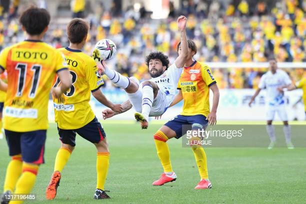 Of V・Varen Nagasaki attempts a bicycle kick during the J.League Meiji Yasuda J2 match between Giravanz Kitakyushu and V-Varen Nagasaki at Mikuni...