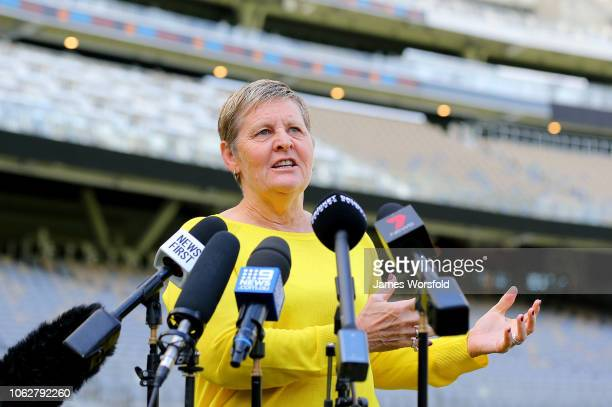 CEO of WACA Christina Matthews introduces Justin Langer to unveil the Justin Langer Stand during a One Day International Series Media Opportunity at...