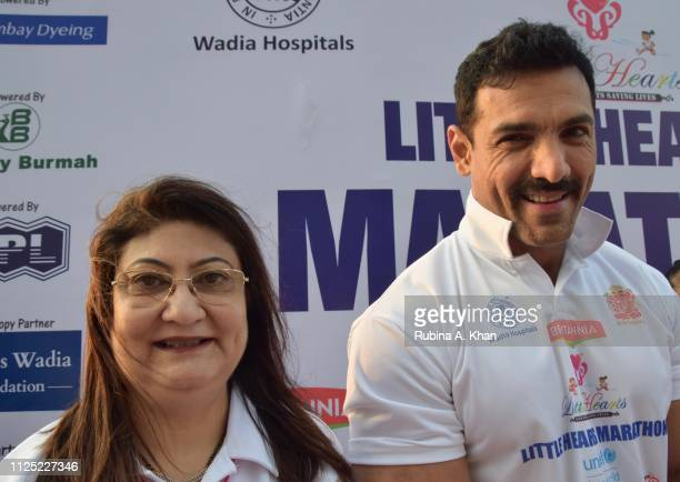 CEO of Wadia Hospitals Dr Minnie Bodhanwala and John Abraham at the sixth edition of the Britannia Little Hearts Marathon 2019 on January 27 2019 in...