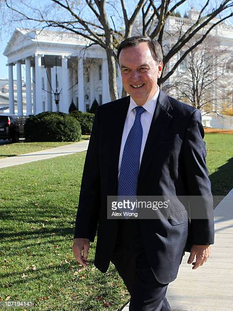 CEO of Walmart Mike Duke leaves the White House after a meeting with President Barack Obama November 29 2010 in Washington DC