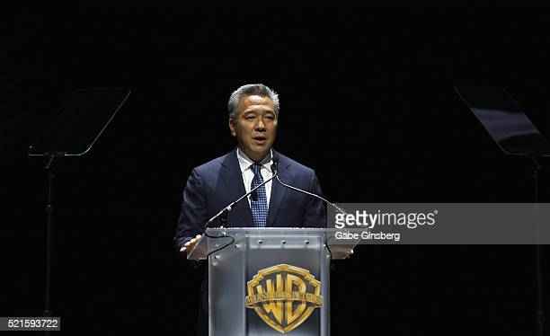 CEO of Warner Bros Entertainment Inc Kevin Tsujihara speaks during Warner Bros Pictures' The Big Picture an exclusive presentation highlighting the...