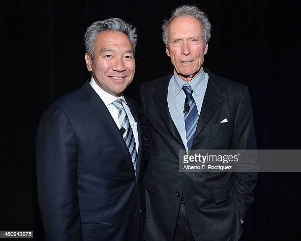 CEO of Warner Bros Entertainment Kevin Tsujihara and actor Clint Eastwood attend Warner Bros Pictures' The Big Picture an Exclusive Presentation...