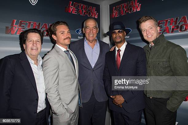 CEO of Warner Bros Peter Roth actor Clayne Crawford CEO of Fox Television Group Gary Newman actor Damon Wayans Sr and director McG attend the...