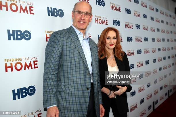 Of WarnerMedia John Stankey and author J.K Rowling attend HBO's 'Finding The Way Home' World Premiere at Hudson Yards in New York, United States on...