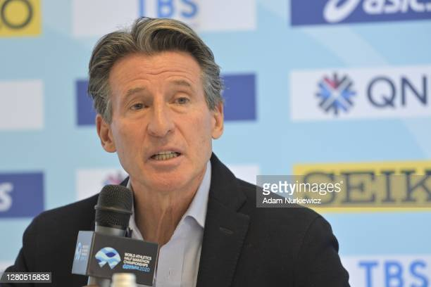 Of World athletics Sebastian Coe speaks to the media during the Pre-Event Official Press Conference one day before The World Athletics Half Marathon...