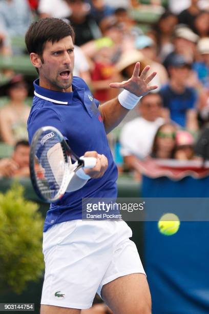 XXXX of XXXX competes in his match against XXXX of XXXX in the 2018 Kooyong Classic at Kooyong on January 10 2018 in Melbourne Australia